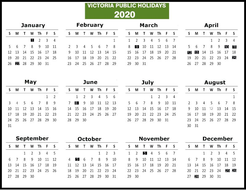 VIC Public Holidays 2020